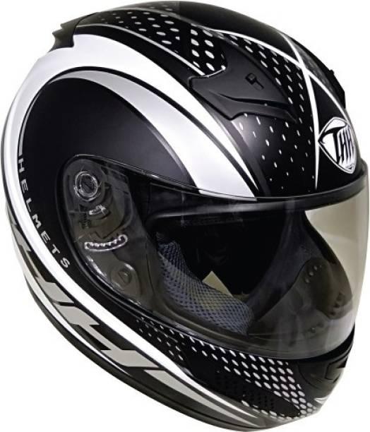 THH HELMETS T-76 King Cobra Full Face Single Shield Helmet (Black/Silver, Matt) Motorbike Helmet