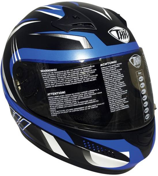 THH HELMETS T-76 Xtreme Full Face Single Shield Helmet (Black/Blue, Matt) Motorbike Helmet