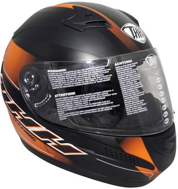 THH HELMETS T-76 Shady Full Face Single Shield Helmet (Black/Orange, Matt) Motorbike Helmet
