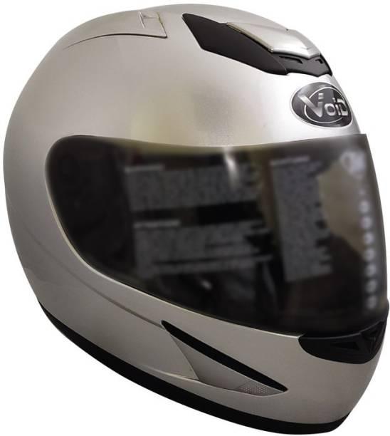 THH HELMETS TS-41 Plain Full Face Single Helmet (Silver, Glossy) Motorbike Helmet