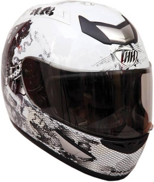 THH HELMETS TS-41 Bull Full Face Single Helmet (White, Glossy) Motorbike Helmet