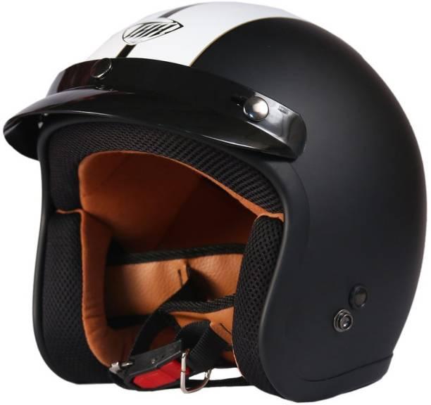 THH HELMETS FH-356 Single Belt Open Face Helmet (Black/White, Matt) Motorbike Helmet