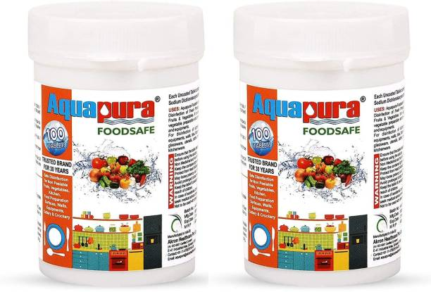 Aquapura Foodsafe,Pack of 2 100 Tablets Pack (90 Days Supply), Disinfection Tablets for Fruits/Vegetables/Cutlery/Crockery/Kitchen Surface & Equipments, Shelf Life & Warranty of 3 Years