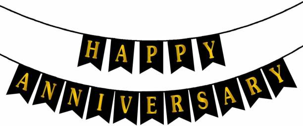 Chunky Funky Store Happy Anniversary Banner Bunting Flag for Party Decoration - Black (Pack of 1) Banner