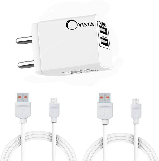 Ovista Dual Port USB Wall Charger Adapter with 2.4 Amp Power Supply for All Android and iOS Devices (with One Meter two Piece Android Data Cable Included 2.4 A Multi port Mobile Charger with Detachable Cable 5 W 3.1 A Multiport Mobile Charger with Detachable Cable
