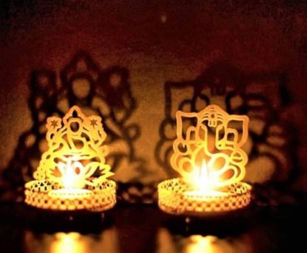 Fashion Bizz Festive Art Gold Plated Iron Lord Ganesha and Goddess Lakshmi Tealight Holder Set Iron 2 - Cup Tealight Holder Set
