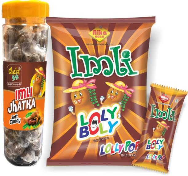 CHASKA BITE IMLI SOFT CANDY & IMLI LOLLIPOP , ULTIMATE TANGY COMBO , IMLI (TAMARIND ) PULP CANDIES , (400 g) sour Sour Candy