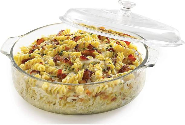 promise plus group Glass Casserole Deep Round - (1.5 LTR) Oven and Microwave Safe Serving Bowl with Glass Lid Set of (1) Glass Disposable Salad Bowl