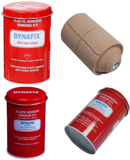 DYNAFIX Elastic Adhesive Bandage B.P. 10 cm X Stretched Length 4/6 m (Pack of 1) Crepe Bandage