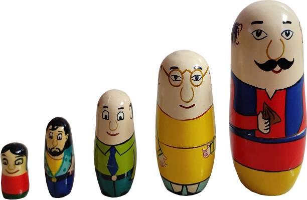 Gogalgai Toys Eco friendly Handcrafted Wooden Motu Patlu Russian Doll