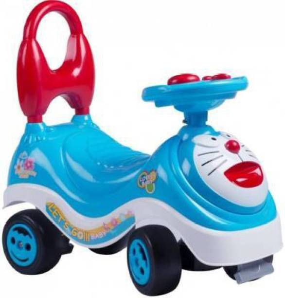 vakratunda enterprise mini MAGIC CAR & FROG SCOOTER & PUSH TRICYCLE & BICYCLE & CYCLE with DORAEMON cartoon & latest MUSIC handle & non PEDAL SKATE type operated toy for BABY & KIDS & CHILDREN ride in HOME & OUTDOOR use Car Non Battery Operated Ride On Bike Non Battery Operated Ride On