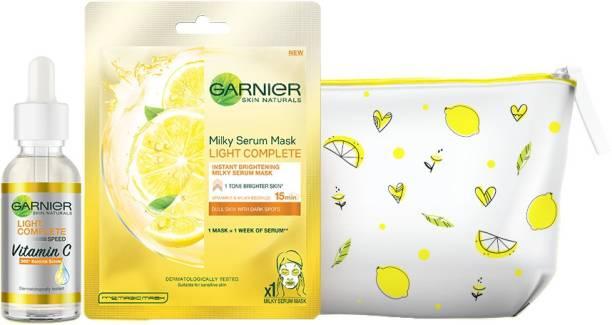 GARNIER Light Complete VITAMIN C Skincare Combo (Light Complete Vitamin C BOOSTER SERUM 30 ml + Milky Serum Mask Light Complete 30g + Skin Naturals Pouch 46 gms)