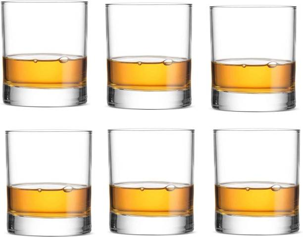 Triptivos (Pack of 6) Cocktails Wine Glass, Round Whiskey Glass, Suitable for Party, Home, Office, Kitchen, Shop, Restaurant, Gift, Scotch Glass.350 ml Set of 6 Glass Set