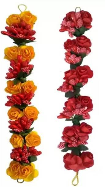 VinshBond Hair Gajra Juda Gajra flower Bun Hair Gajra for Wedding and Parties Use for Women, Multicolor Pack of 2 Bun