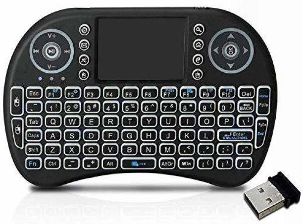 IC PLUS Mini Wireless Keyboard and Mouse(Touchpad with Backlight) with Smart Function for Smart Tv, Android Tv Box, Raspberry-Pi, Android & iOS Devices (Black) Wireless Multi-device Keyboard