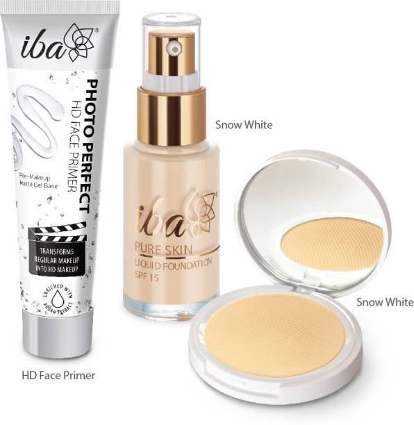 IBA Foundation + Compact + Primer Face Makeup Combo (Snow White)