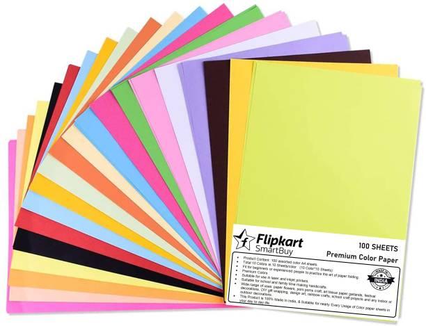 Flipkart SmartBuy 100 Pcs. Craft Paper Sheets A4 Size (Colors) for Students, Kids, Children Home School Hand Craft Paper Unruled (Set of 1, Multi color) Unruled A4 75 gsm Coloured Paper