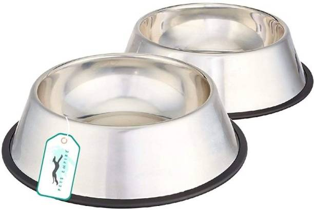 PETS EMPIRE Dog Bowl Round Stainless Steel Pet Bowl