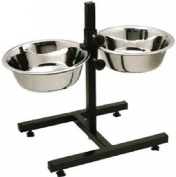 PETS EMPIRE Double Dog Bowls With Stand Round Stainless Steel Pet Bowl