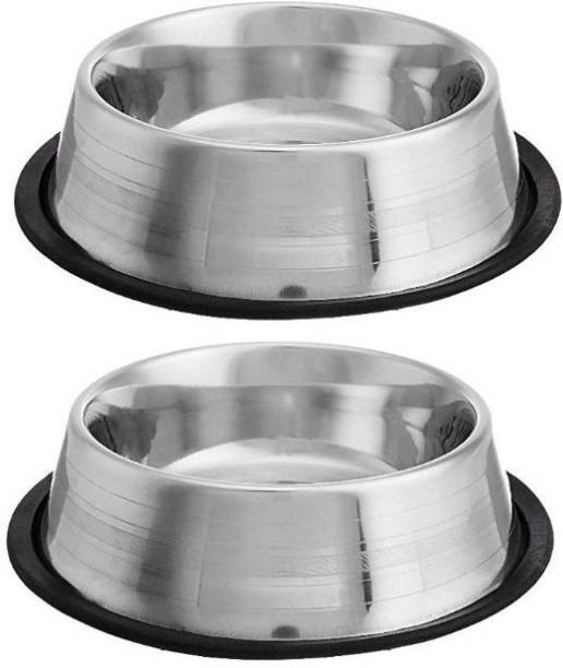 PETS EMPIRE Round Stainless Steel Pet Bowl