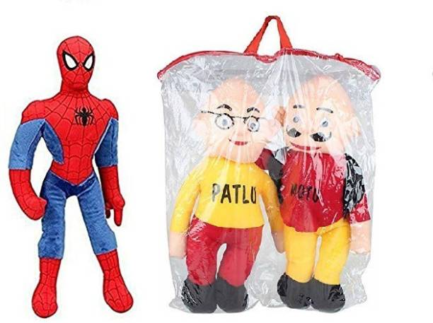 Kaira toys Motu patlu (30 CM) & Spiderman (40 CM) kids playing soft toy teddy bear (Multicolor)  - 40 cm