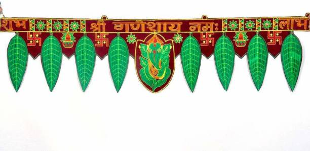 PRIDE STORE Shee Ganesha with Leaf Diwali Decoration Ganesha Leaf Toran, Ganesha Bandarwal Hanging Door askhok patta Design Toran (92 cm Length, 18 cm Height, Shree Ganeshay Namah Toran) Toran