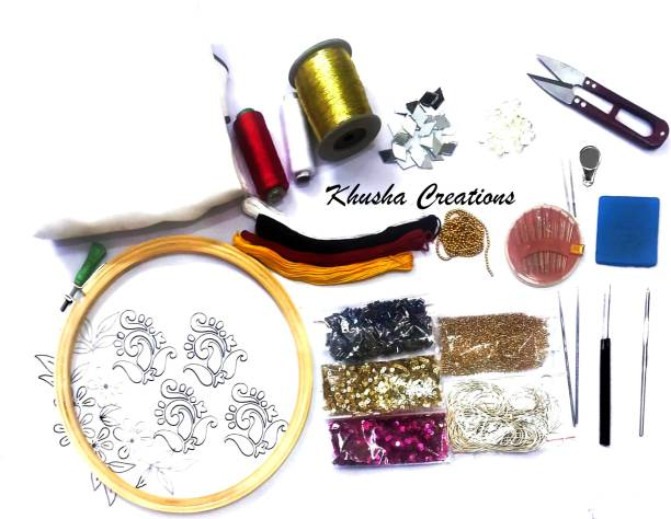 KHUSHA CREATIONS Embroidery kit for beginners and professionals / Hobby Embroidery / Wooden Hoop Kit