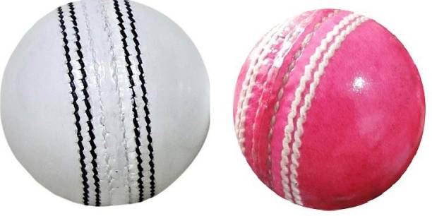 SSI Combo Pink and White Cricket Leather Ball