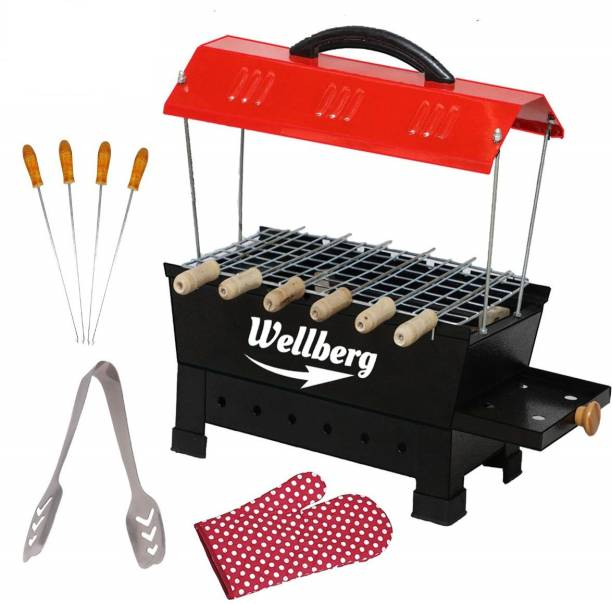 WELLBERG Multi Purpose Electric & Non Electric Barbeque Grill & Tandoor Griller,Black With 4 Skewers Electric Grill