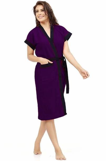 Flipkart SmartBuy Purple Free Size Bath Robe