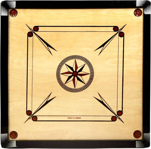 Kiwi Premium 32inch Round Pocket Carrom Board with Wooden Coins ,Striker & Disco powder 81.28 cm Carrom Board