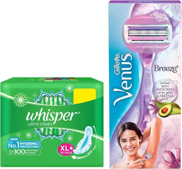 Whisper cleans 50s plus Venus Breeze razor (feminine hygiene combo)
