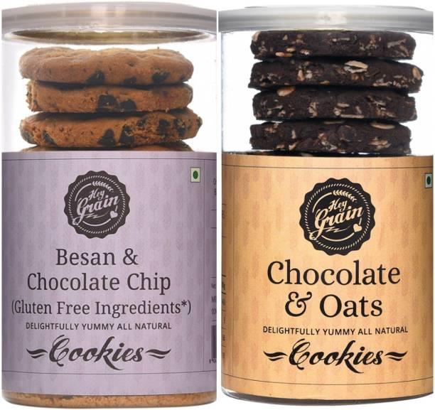 Hey Grain Chocolate and Oats & Besan, Chocolate Chips Cookies Combo 1 Cookies