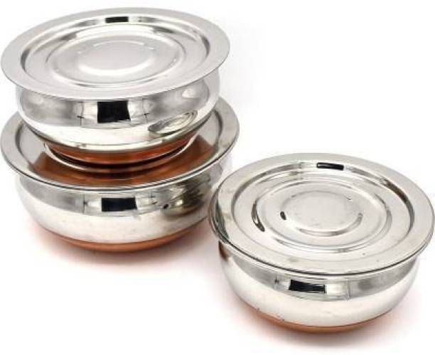 EasyBuyStore Copper Bottom Handi 3 Pcs Set With Lid Cookware Set