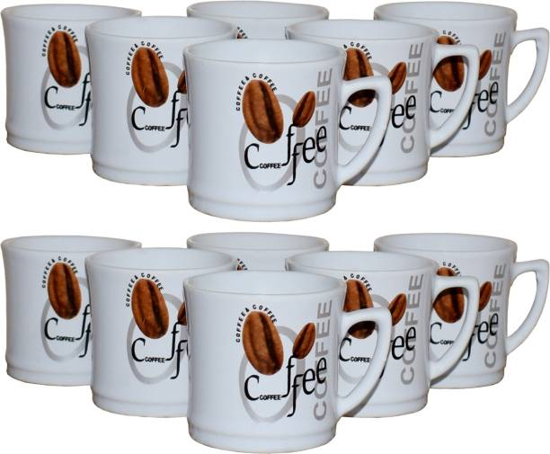 KC Somny Pack of 12 Ceramic Coffee Cup & Tea Cup Set of 12 (AE1GHD) 120ml