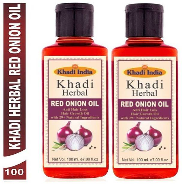 Khadi Herbal Red Onion Oil For Hair Growth Anti Hair Fall (Pack Of-2) Hair Oil (200 ml) Hair Oil