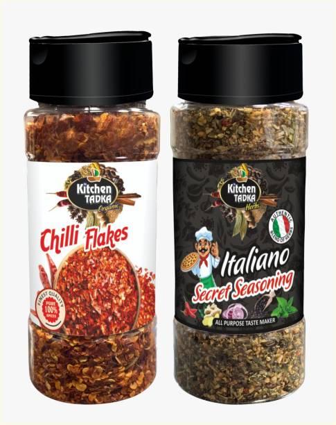 KITCHEN TADKA |Italian|Chilli Flakes|Pizza|Pasta|Seasoning|Powder|Herbs Mix|Combo Pack of 2|Dispenser pack Bottle| 100gm Each