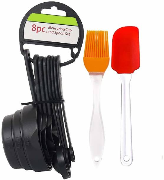JB Kiara Textiles Measuring Cup and Silicon Spatula Baking Measuring Cups and Spoon Set with Silicon Spatula and Brush Kitchen Tool Measuring Set Black, Multicolor Kitchen Tool Set
