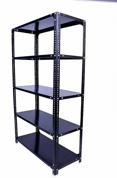 Menage Slotted Angle Rack 87x33x15 Feet with Shelf Shelving Unit Multipurpose Rack (Black 5 Shelf) Luggage Rack