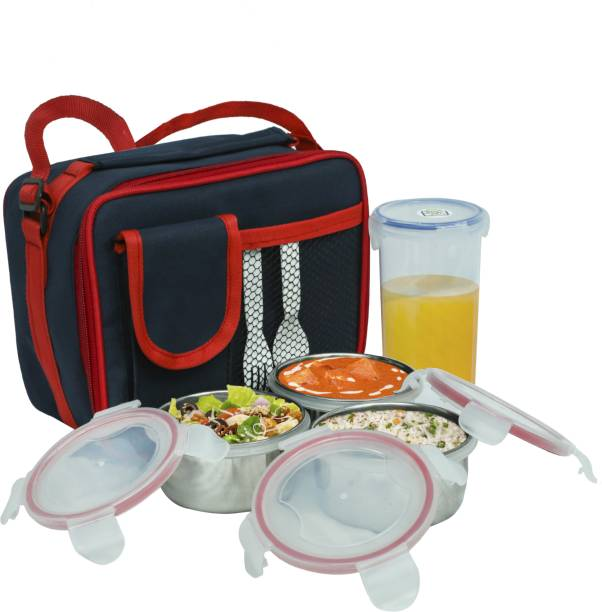 Topware Lock & seal Steel Combi Lunch Box with Tumbler, 4-Pieces, ( 1000 ml) 3 Containers Lunch Box