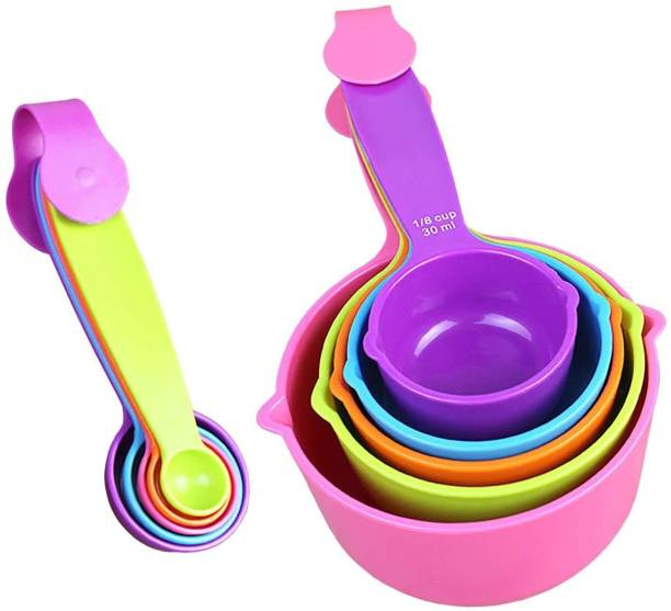 PuthaK Plastic Measuring Cups and Measuring Spoons 10-Piece Set, 5 Cups and 5 Spoons Measuring Cup Set