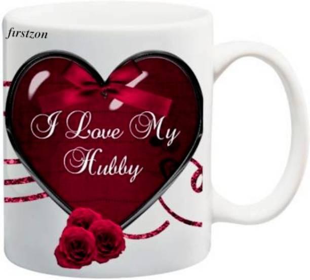 FIRSTZON I love my hubby best gift for husband gift coffee and tea white printed ceramic mug Ceramic Coffee Mug