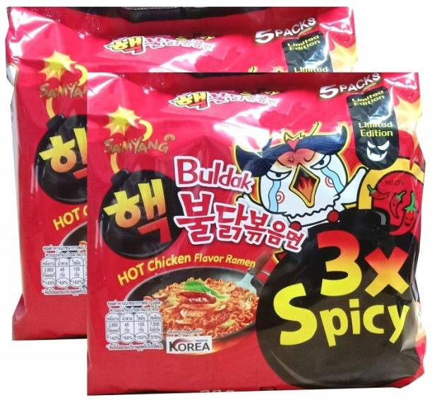Samyang 3XSPICY Hot Chicken Ramen Flavour -5*140gm (Pack of 2) (Imported) Instant Noodles Non-vegetarian