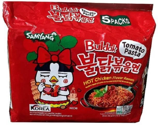 Samyang Tomato Pasta Hot Chiken Flavor Ramen Stir-Fired Noodle-5*140gm (Pack of 1) (Imported) Instant Noodles Non-vegetarian