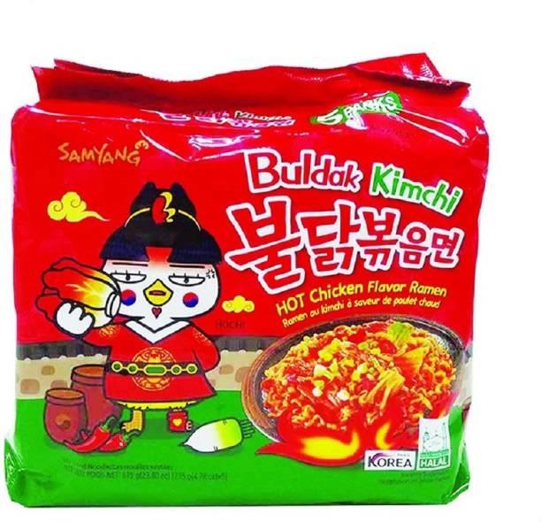 Samyang Hot Chicken Ramen Buldak Kimchi Noodles-135X5 (Pack of 5) (Imported) Instant Noodles Non-vegetarian