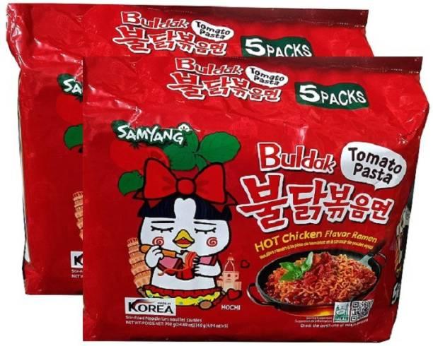 Samyang Tomato Pasta Hot Chiken Flavor Ramen Stir-Fired Noodle-5*140gm (Pack of 2) (Imported) Instant Noodles Non-vegetarian