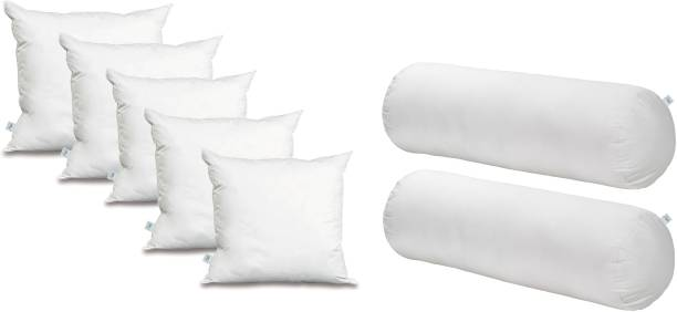 YRV Home Furnishing Combo Set Of 5 Cushion And 2 Microfibre Solid Bolster Pack of 7