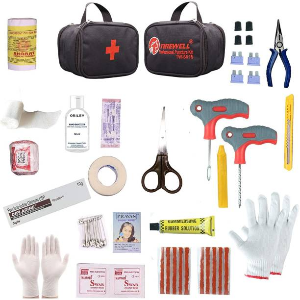 TIREWELL TW-5015 Tubeless Tire Puncher Repair & First Aid Kit for Bikes, Cars & Motorcycles Universal Flat Tubeless Tyre Puncture Repair Kit