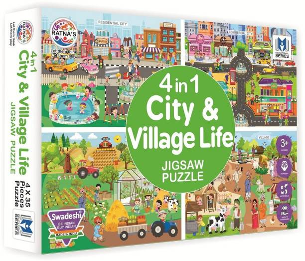 Ratnas 4 in 1 City & Village Life Jigsaw Puzzle for Kids. Teach Your Kids About The City and Village. 4 Puzzles 35 Pieces Each…