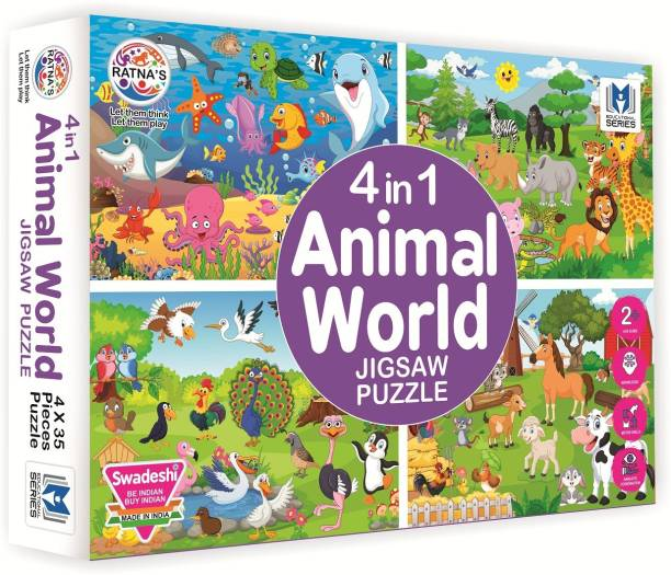 Ratnas 4 In 1 Animal World Jigsaw puzzle for kids. 4 puzzles 35 pieces each
